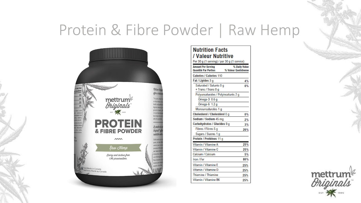 Mettrum Originals - Protein & Fiber Powder - Raw Hemp