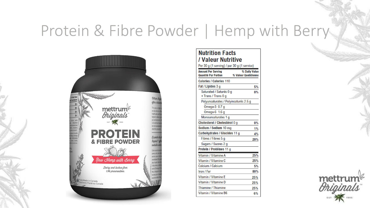 Mettrum Originals - Protein & Fiber Powder - Hemp with Berry