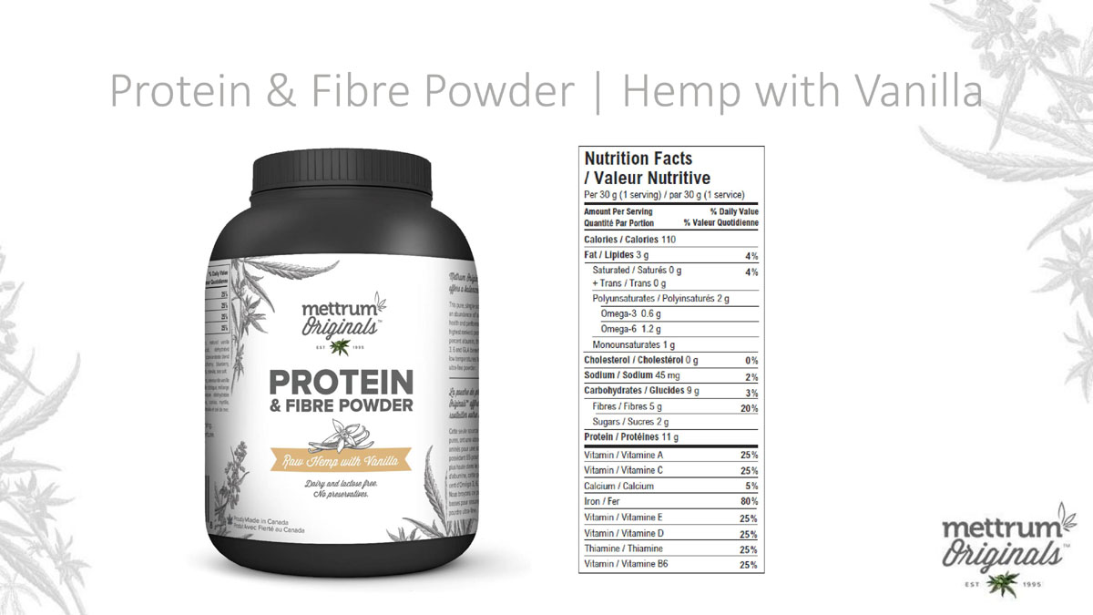 Mettrum Originals - Protein & Fiber Powder - Hemp with Vanilla