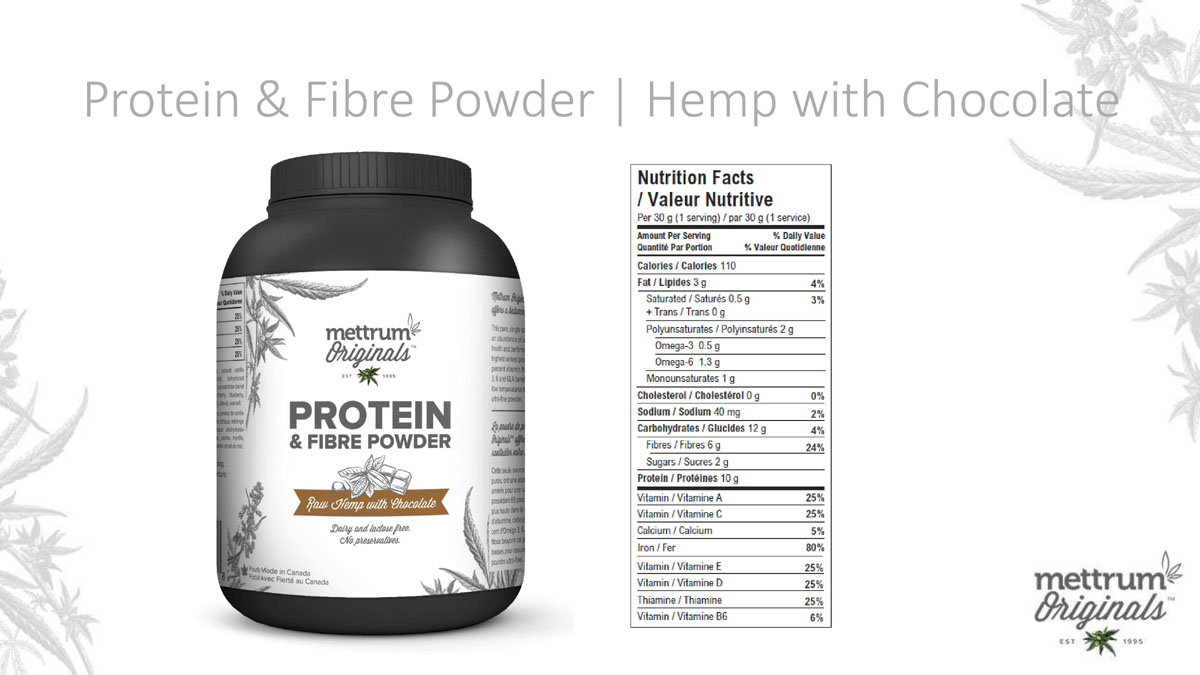 Mettrum Originals - Protein & Fiber Powder - Hemp with Chocolate