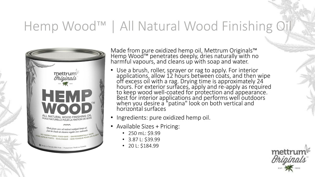 Mettrum Originals - Hemp Wood - All Natural Wood Finishing Oil