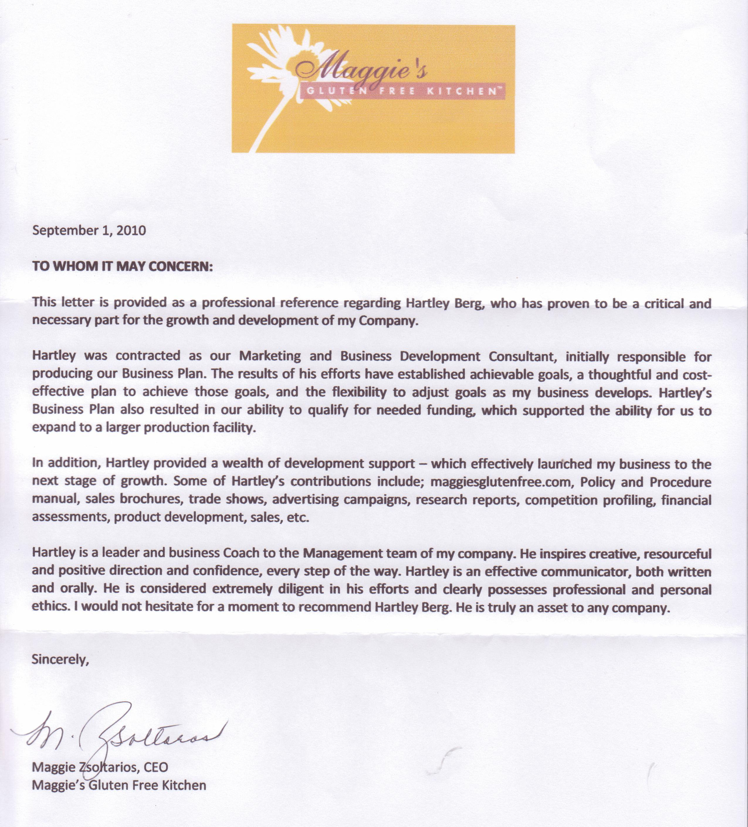 Maggie's Gluten Free Kitchen - Letter of Reference
