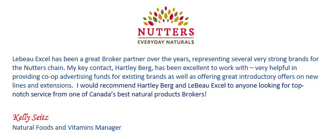 Nutters Everyday Naturals - testimoinial letter