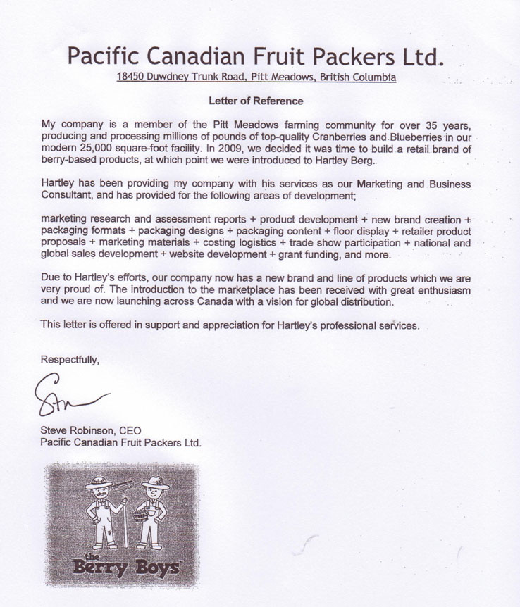 Pacific Canadian Fruit Packers - Letter of Reference